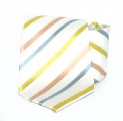 Goldenland nyakkendő - Fehér-zöld,kék  csíkos