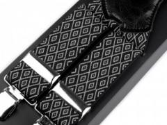 Férfi nadrágtartó - Fekete-fehér mintás Férfi nadrágtartó