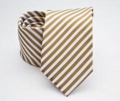 Prémium selyem nyakkendő - Mustársárga-fehér csíkos