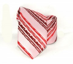 Saint Michael selyem nyakkendő - Rózsaszín-piros mintás