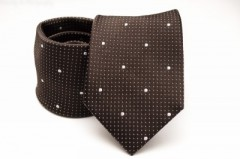 Prémium selyem nyakkendő - Sötétbarna-fehér mintás