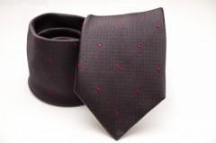 Prémium selyem nyakkendő - Sötétbarna-pink mintás