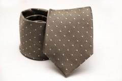 Prémium selyem nyakkendő - Barna pöttyös