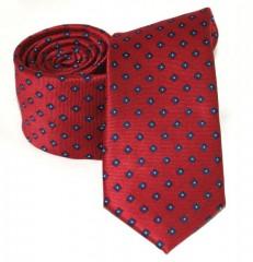 Goldenland slim nyakkendő - Meggybordó mintás