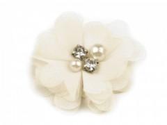 Textil virág - Ecru