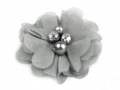 Textil virág - Ezüst