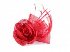 Rózsa kitűző-tollal - Piros