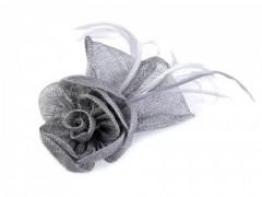Rózsa kitűző-tollal - Ezüst