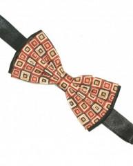 Zsorzsett szatén csokornyakkendő - Fekete-kockás Mintás