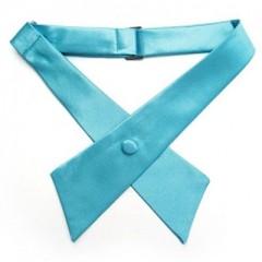 Szatén unisex kereszt nyakkendő - Türkízkék