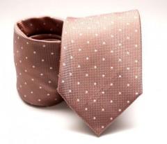 Prémium nyakkendő -  Aranybarna pöttyös Aprómintás nyakkendő