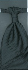 Francia nyakkendő,díszzsebkendővel - Fekete csíkos