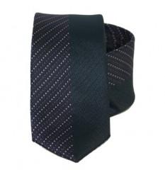 Goldenland slim nyakkendő - Sötétkék-lila mintás