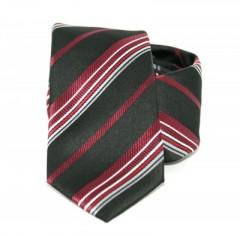 Goldenland slim nyakkendő - Fekete-meggybordó csíkos